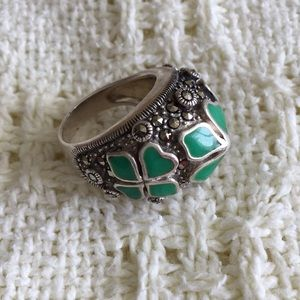 Jewelry - Sterling Clover and Marcasite Ring (9)